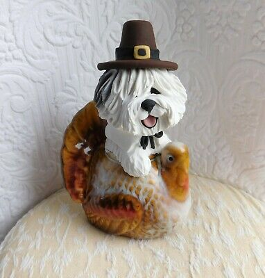 Old English Sheepdog Thanksgiving Pilgrim hand sculpted by Raquel at theWRC OOAK