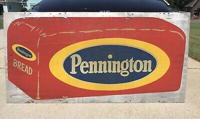 PENNINGTON BREAD ~ RARE VINTAGE 30 x 60 2 Sided Reflective Advertising SIGN Gas