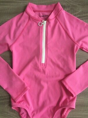 Girls Lands End Long Sleeved Swimsuit Swimming Costume Outfit 7 Years Pink