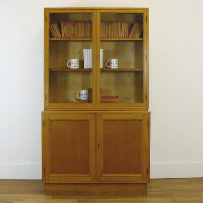Good Mid-Century Vintage Oak School Lab Library Glazed Cabinet Bookcase