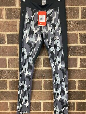 NWT The North Face Black Painted Camo Print TNF Girl's Pulse Leggings Size XL