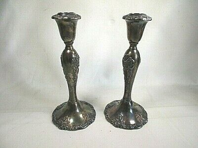 2 Baroque By Wallace 750 Silver plate  Ornate Tapered Candle Sticks Large Pair