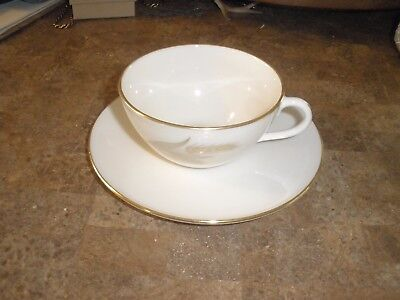 Lenox Gold Rimmed R-442 Wheat Pattern Cup and Saucer
