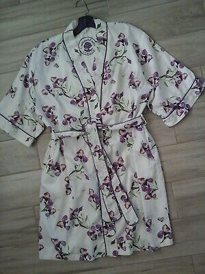 Crabtree & Evelyn Women White Floral 3/4 Sleeve Woven Cotton Wrap Robe    Size M