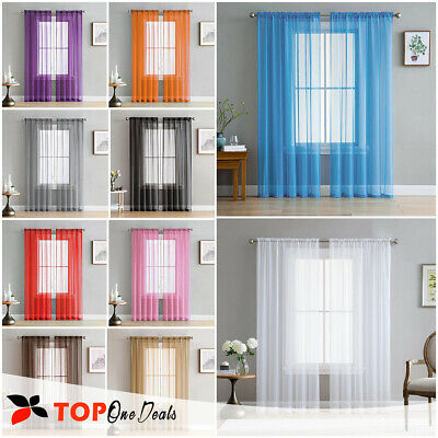 Pair (2 Panels) Voile Slot Top Panels Quality Net & Voile Curtains *All Colours*