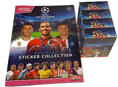 Topps Champions League Sticker 2019/2020 Album + 4 x Display - 120 Booster 19/20