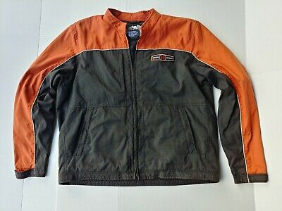 Men's Harley-Davidson Classic Riding Wind Breaker Jacket XL Black & Orange