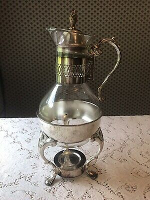 Vintage Raimond Silver Plate Coffee Tea Glass Carafe Holder Footed