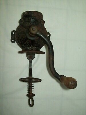 Antique Crystal Arcade ~ Primitive Cast Iron Wall Mount Coffee Grinder