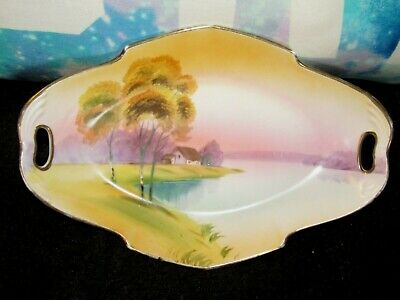 Vintage Nippon Hand Painted Handled Oval + Dish Plate Pink Lake Trees Gold Trim