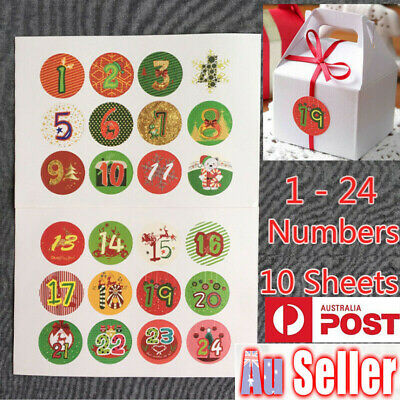 120X Christmas Advent Calendar Stickers Numbers Gift Bag Sealer Label Seal Craft
