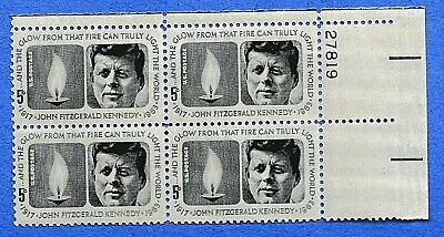 "Scott 1246: Block (4) 5c ""President John F Kennedy Memorial""; Issued 1964; MNH"