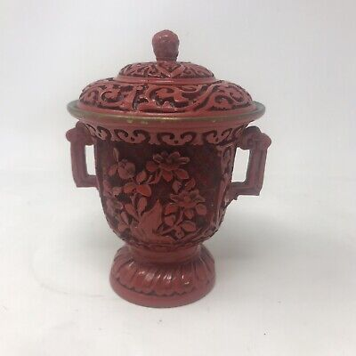 Antique Chinese carved cinnabar two handled lidded urn, Beautiful Craftsmanship