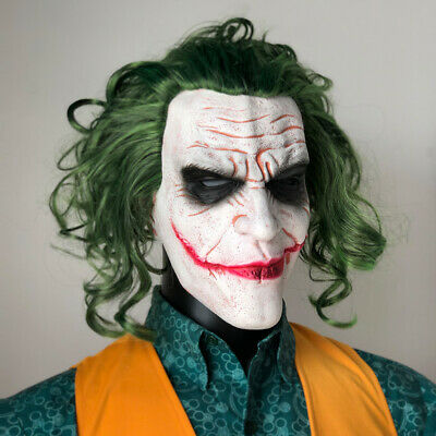 Joker Mask Cosplay Horror Scary Clown Mask with Green hair Wig Halloween party
