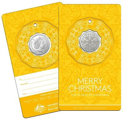2019 - Twelve Days of Christmas - RAMint  carded 50cent coin - Yellow card