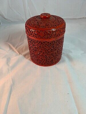 Chinese Floral Carved Cinnabar Lacquer Enamel Humidor Canister Jar Box