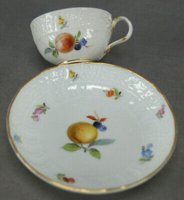 Meissen Hand Painted Fruit Floral Gold Late 19th Century Demitasse Cup & Saucer