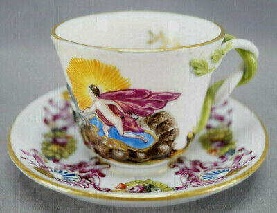 19th Century Capodimonte Italian Hand Painted Figural Tea Cup & Saucer AS IS