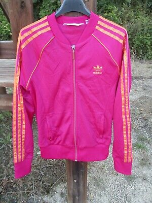 VESTE ADIDAS ROSE orange girl femme Trefoil jacket giacca