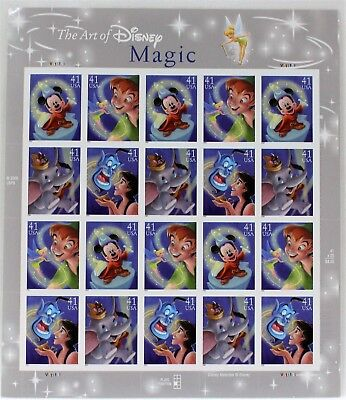 USPS Disney Postage Stamps The Art Of Disney Magic Sheet Of 20 - 41 Cent