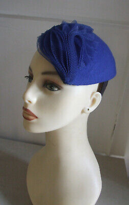 Alva Gorgeous Royal Blue Felt & Net Fab Fascinator Headpiece Hat Wedding / Ascot