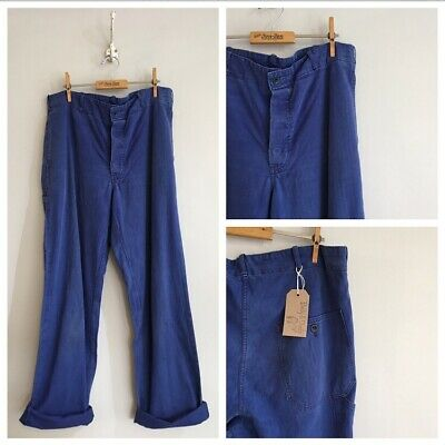 "Vintage Faded Blue Cotton Herringbone Chore Workwear Trousers Pants W37"" 38"""