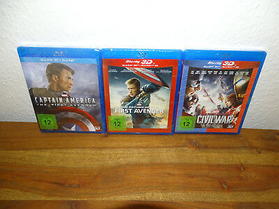 Captain America 1-3 - Blu-Ray 3D Sammlung (Avenger,Civil War,Marvel) NEU&OVP