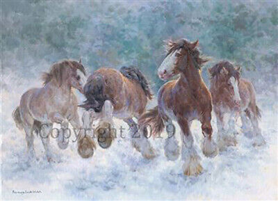 Christmas Blank Cards /& Packs Festive Pony in Snow with Garland Horse FREEPOST