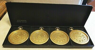 4 Vintage MCM Stopwatch Cast Metal 24K Gold Plated Coaster Janis Collection Box