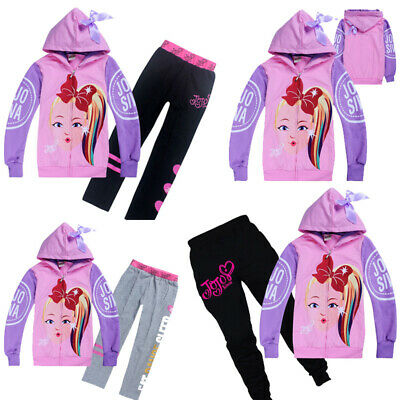 New JoJo Siwa Girls Bowknot Zipper Hoodies Casual Cartoon Top Clothes+Trousers