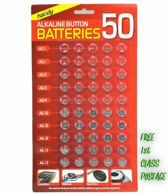 50 Assorted Button Cell Watch Battery Batteries Ag 1 / 3 / 4 / 10 / 12 / 13 Uk