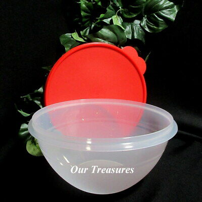 Tupperware Brand New Wonderlier Mixing Bowl ~ 10 cup ~ Sheer~Clear Red Seal