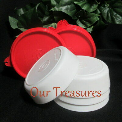 TUPPERWARE New 4 Litl Little Small White Wonders Bowls Snack Cups Red Seals