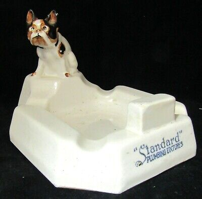 "6"" Vintage Standard Plumbing Fixtures Advertising Soap Dish - French Bulldog"
