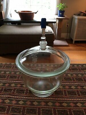 "Pyrex 10"" Vacuum Desiccator Lab Jar With Valve"