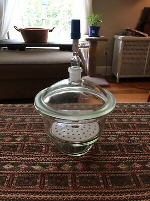 "Pyrex 8"" Vacuum Desiccator Lab Jar With Ceramic Plate And Valve"