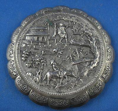 Dose Puderdose Asien wohl China  925er Sterling Silber