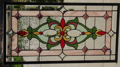 Stained Glass Transom window hanging  30 1/2 X 16 1/2