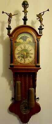 DUTCH CHIMING WALL CLOCK WITH MOON PHASE - RUNNING WELL - 35 inches high