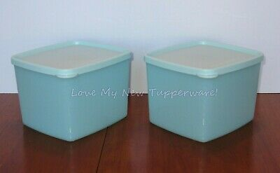 Tupperware Freeze-It Plus Set of 2 Stain Resistant 3.3-cup in Aquamarine New