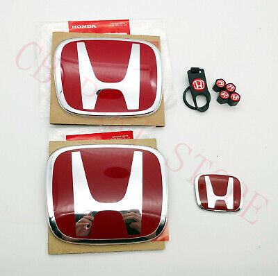STEERING EMBLEM BADGE CIVIC 2D COUPE 2012-2013 REAR APEXI SET OF 3 RED FRONT