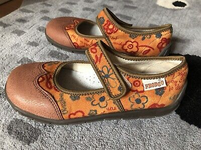 Girls Froddo Textile+Leather Mary Jane Shoes Size EU 33/1 Velcro Stylish MINT!