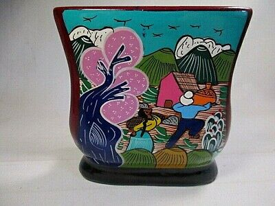 NAPKIN HOLDER Hand Painted Glazed MEXICAN POTTERY