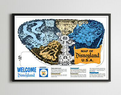 "1965 DISNEYLAND ""Tencennial"" - Vintage Park Map POSTER! (up to 24"" x 36"") - Gift"