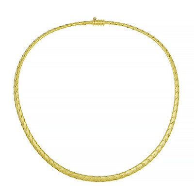 "18 KT Yellow Gold Polished Braided Basket Weave Chain Necklace 18"" NEW"