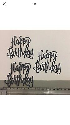 6 Black Happy birthday Die Cuts - CARD MAKING,EMBELLISHMENTS, TOPPERS