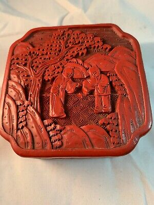 Chinese Carved Red Covered Cinnabar Box  Early Lacquer Wear