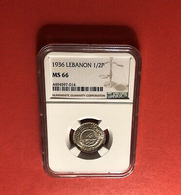 Lebanon-1936-2 1/2 Piasters,Unc Graded Coin,Certified By Ngc Ms-66..Rare
