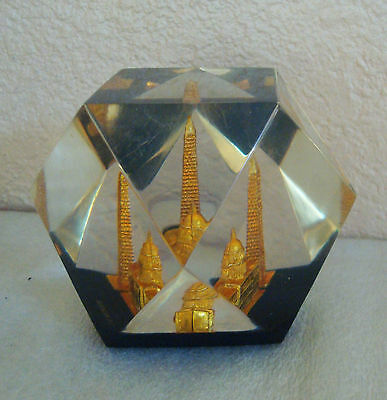 Vintage United States Capitol Washington DC Gold in Clear Lucite Paperweight