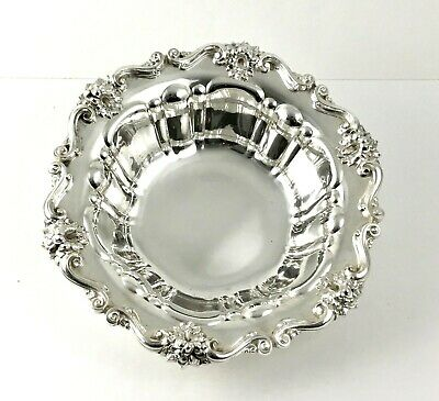 "Antique MERIDEN BRITANNIA .925 Sterling Silver 10"" Bowl Floral Lily Ornate #768"